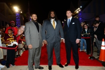 The three 2013 Outland Trophy Finalists on ESPN Awards Red Carpet Show from Lake Buena Vista, Fla,: Left to Right, Aaron Donaldof Pittsburgh, Cyril Richardson of Baylor, Jake Matthews of Texas A&M. Photo courtesy of ESPN.