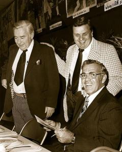 Joe Doyle (left) with Stan Pisek (center) and legendary Notre Dame coach Ara Parseghian