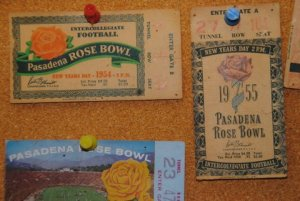 Tickets Spander used to enter some 1950s Rose Bowl games.