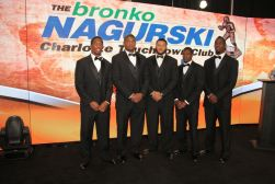 Bronko Nagurski Award: The five 2013 Bronko Nagurski finalists; Darqueze Dennard of Michigan State, Michael Sam of Missouri, Aaron Donald of Pittsburgh, Lamarcus Joyner of Florida State and C.J. Mosley of Alabama. Photo by Ron J.Deshaies/Treasured Events of Charlotte.