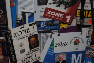 Some of Spander's Rose Bowl press credentials.