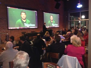 Baylor offensive tackle Spencer Drango's image popped up on the big screen via Skype as he was named an Outland Trophy semifinalist on Thursday night.