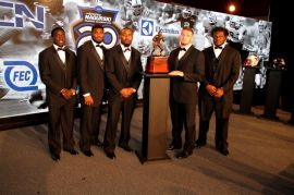 The five finalists for the 2014 Bronko Nagurski Trophy (from left to right): Ole Miss' Senquez Golson, Alabama's Landon Collins, Louisville's Gerod Holliman, Arizona's Scooby Wright III and Texas' Malcom Brown. (Photo by Ron & Donna Deshaies/Treasured Events of Charlotte.)