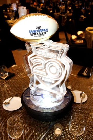 A centerpiece from the 20th Bronko Nagurski banquet held in Charlotte. (Photo by Ron & Donna Deshaies/Treasured Events of Charlotte.)