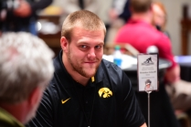 Outland Winner Brandon Scherff of Iowa being interviewed before he won the award in Orlando.