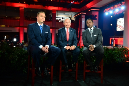 "The ""College GameDay"" crew of Kirk Herbstreit, Lee Corso and Desmond Howard on set at Disney for the Awards Show."