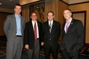 Scott Chipman of the Big Ten and the FWAA's 2015 officers, President Lee Barfknecht, First Vice President Mark Anderson and second vice president Dave Jones. Melissa Macatee photo. Scott Chipman of the Big Ten and the 2015 FWAA Officers, President Lee Barfknecht of the Omaha World Herald, First Vice President Mark K. Anderson and Second Vice President Dave Jones. Photo by Melissa Macatee.