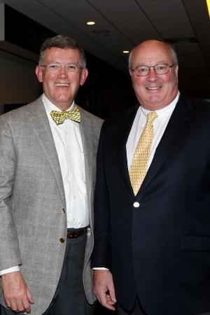 Allstate Sugar Bowl President Judge Dennis Waldron and Sugar Bowl CEO Paul Hoolahan at the FWAA Coach of the Year reception.