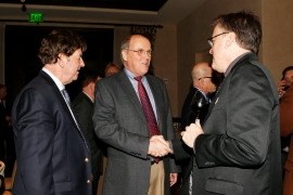 Left to right, 2004 FWAA President Dick Weiss, Bill Hancock, executive director of the College Football Playoff, and 2013 FWAA President Chris Dufresne. (Melissa Macatee photo)