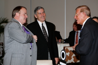 FWAA Eddie Robinson Coach of the Year Gary Patterson of TCU, Big 12 Commissioner Bob Bowlsby and former Notre Dame Coach Lou Holtz, a two-time winner of the coach of the year award.