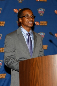 Eddie Robinson III speaks at the FWAA Eddie Robinson Coach of the Year reception on Jan. 10, 2015, in Dallas. (Melissa Macatee photo)