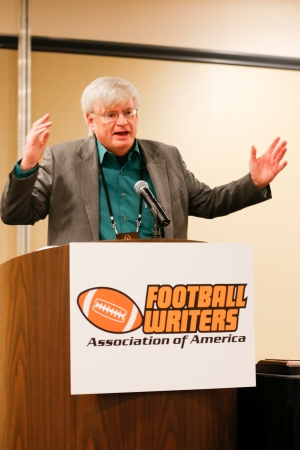 FWAA Beat Writer of the Year Tim May of the Columbus Dispatch. Photo by Melissa Macatee.