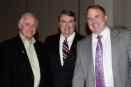 2014 FWAA President Kirk Bohls, National Football Foundation President and CEO Steve Hatchell and TCU Coacgh Gary Patterson, winner of the FWAA Eddie Robinson Coach of the Year Award at the award reception on Jan. 10, 2015, at the Renaissance Hotel in Dallas. (Melissa Macatee photo)