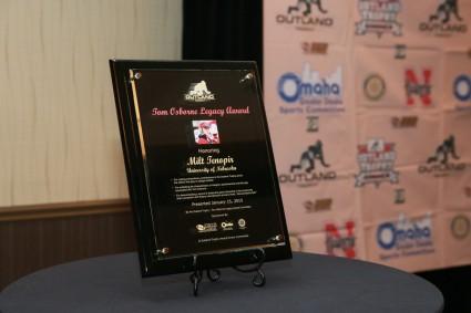 The Tom Osborne Legacy Award Plaque, presented to former Nebraska offensive line coach Milt Tenopir.