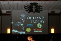 The big screen at the Outland Trophy presentation banquet on Jan. 15 in Omaha.