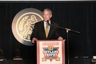Iowa Coach Kirk Ferentz speaks at the Outland Trophy banquet on Jan. 15. Brandon Scherff, a senior offensive tackle, was the fourth player from Iowa to win the Outland, and the second under Ferentz.