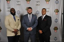 2015 Outland Trophy finalists, left to right, A'Shawn Robinson of Alabama, Spencer Drango of Baylor and winner Joshua Garnett of Stanford. (Photo by Richard Ducree / ESPN Images)