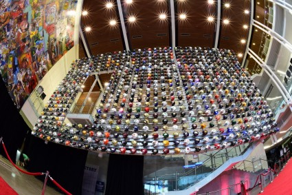 The wall of helmets just inside the College Football Hall of Fame in Atlanta, site of the College Football Awards Show. (Photo by Phil Ellsworth / ESPN Images)