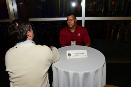 Stanford's Joshua Garnett fielded questions from the media before being named the 2015 Outland Trophy winner at the College Football Hall of Fame. (Photo by Phil Ellsworth / ESPN Images)