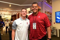 Stanford running back Christian McCaffrey joined teammate and 2015 Outland Trophy winner Joshua Garnett during the media availability before the awards show at the College Football Hall of Fame. (Photo by Phil Ellsworth / ESPN Images)