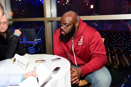 A'Shawn Robinson of the University of Alabama sits down for an interview before the College Football Awards Show in Atlanta. (Photo by Phil Ellsworth / ESPN Images)