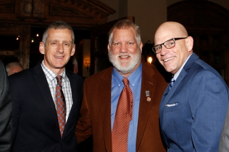 Left to right, three of the 10 former FWAA presidents who attended the Past Presidents dinner on Jan. 8: George Schroeder, Tom Shatel and Dennis Dodd. Photo by Melissa Macatee.