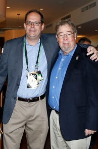 Josh Krulewitz (left) of ESPN, annual sponsor of the FWAA Awards Breakfast, and FWAA member Herb Gould. Photo by Melissa Macatee.