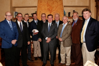 Ten former presidents of the Football Writers Association of America attended the Past Presidents Dinner on Jan. 8, 2016. Photo by Melissa Macatee.