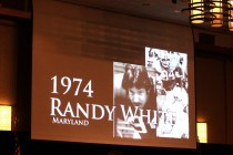 Images of previous Outland Trophy winners were displayed on the big screen at the presentation banquet. Among them was 1974 winner Randy White of Maryland, who received his trophy this year. From 1946 through 1987, Outland winners received a plaque. Since then Omaha's Downtown Rotary has sponsored presentation of an Outland Trophy to one of the early winners each year. Photo provided by the Greater Omaha Sports Committee.