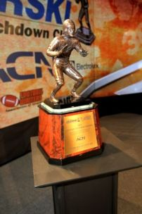 The Bronko Nagurski Trophy, presented annually since 1993 by the Football Writers Association of America to the best defensive player in college football. Photo by Ron J.Deshaies/Treasured Events of Charlotte.