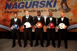 Finalists for the 2015 Bronko Nagurki Trophy (left to right): Jeremy Cash of Duke, Carl Nassib of Penn State, Shaq Lawson of Clemson, Reggie Ragland of Alabama and winner Tyler Matakevich of Temple. Photo by Ron J.Deshaies/Treasured Events of Charlotte.