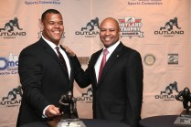 2015 Outland Trophy winner Joshua Garnett of Stanford and his coach David Shaw. Photo provided by the Greater Omaha Sports Committee.