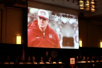 The Tom Osborne Legacy Award went to Jim Ridlon Sr., a former college and professional football player and the artist who sculpted the Outland Trophy. Photo provided by the Greater Omaha Sports Committee.