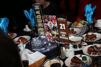 Table setting for the 2016 Bronko Nagurski Trophy award banquet. (Photo by Michael Strauss, Strauss Studios.)
