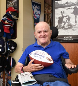"O.K. ""Buddy"" Davis received a commemorative football in recognition of the 2016 FWAA Lifetime Achievement Award. (Photo by .onny J Crowe),Copyright:Louisiana Tech University.All Rights Reserved.(dcrowe@latech.edu) 318-257-4854 Buddy Davis,"