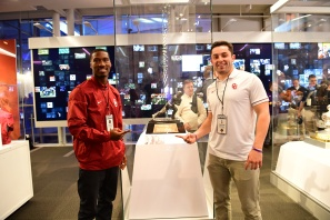 Oklahoma Sooners Dede Westbrook (left)and Baker Mayfield point to each other as they flank the Heisman Trophy. Both were finalists for the Heisman. Westbrook was a first-team wide receiver on the FWAA All-America team, while Mayfield was the second-team quarterback for the second year in a row. (Photo by Phil Ellsworth / ESPN Images)