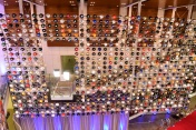 The wall of college football helmets at the NFF College Football Hall of Fame in Atlanta. (Photo by Phil Ellsworth / ESPN Images)
