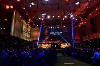Former Heisman Trophy winner Rashaan Salaam, who died suddenly in December, is remembered during the College Football Awards Show. (Photo by Phil Ellsworth / ESPN Images)