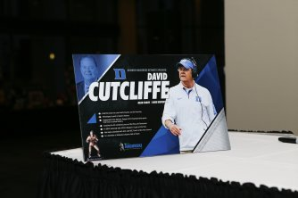 Duke coach David Cutcliffe was the keynote speaker at the 2016 Bronko Nagurski Trophy award banquet. (Photo by Michael Strauss, Strauss Studios.)