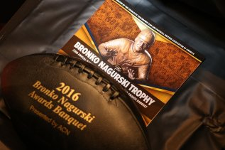 The program for the Bronko Nagurski Trophy banquet. (Photo by Michael Strauss, Strauss Studios.)