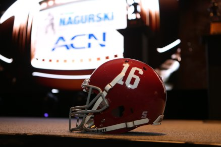 An Alabama football helmet was a featured decoration at the award banquet. (Photo by Michael Strauss, Strauss Studios.)