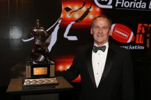 2016 Bronko Nagurski Legends Award winner Chet Moeller, who played for Navy and was a member of the FWAA's 1975 All-America Team and a College Football Hall of Famer. (Photo by Michael Strauss, Strauss Studios.)