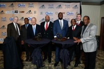 Left to right: Former Nebraska Coach Tom Osborne, former Oklahoma quarterback J.C. Watts, former OU Coach Barry Switzer, 1978 Outland Trophy winner Greg Roberts of OU, 2016 Outland winner Cam Robinson of Alabama, 1972 Heisman Trophy winner Johnny Rodgers of Nebraska, 1971 Outland winner Larry Jacobson of Nebraska and Billy Sims, Oklahoma's 1978 Heisman winner, gather before the Outland Trophy Presentation Banquet on Jan. 11, 2017, in Omaha. Photo by C41 Photography.