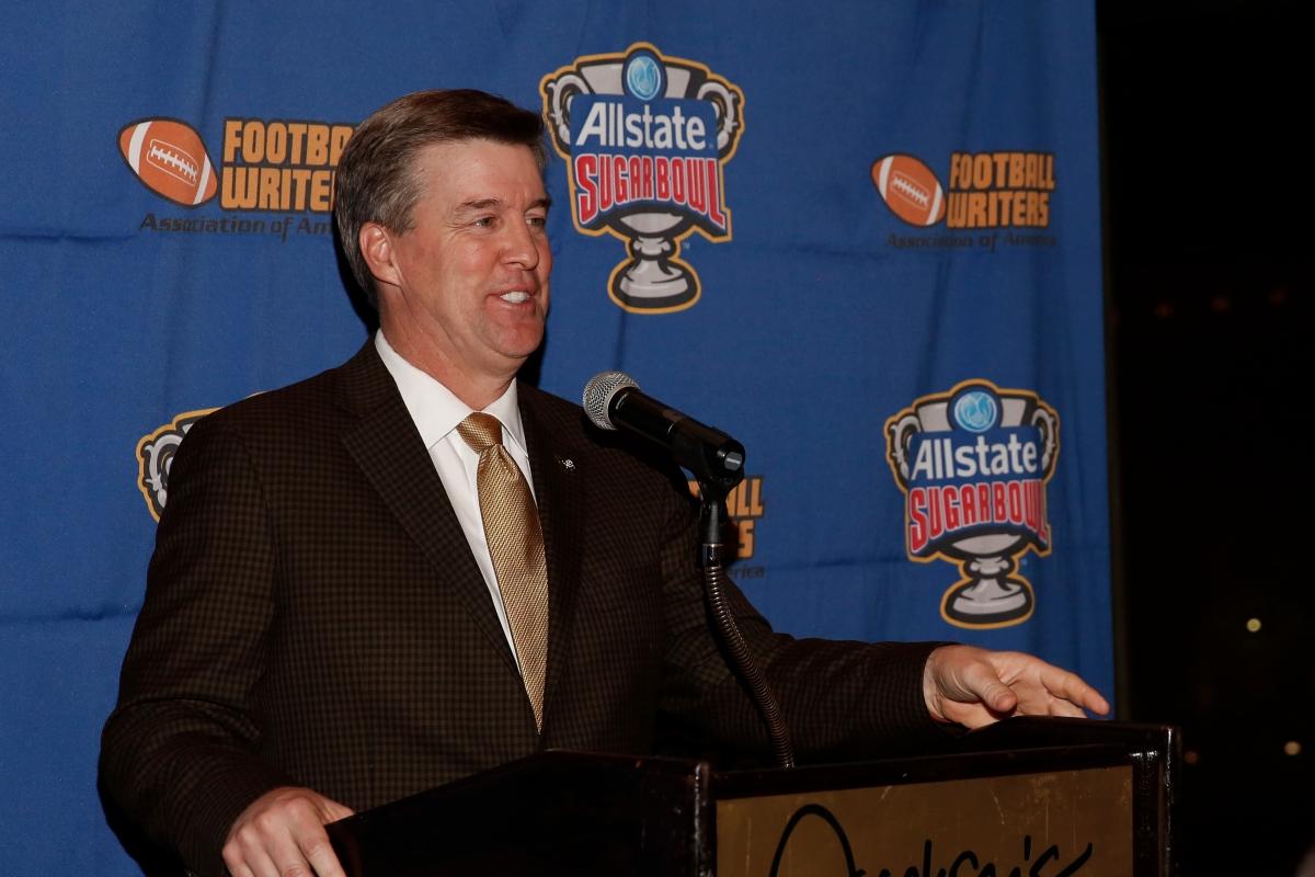 Colorado Coach Mike MacIntyre, winner of the FWAA Eddie Robinson Coach of the Year Award. Photo by Melissa Macatee.