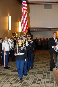 The color guard enters the ballroom for the Outland Trophy Presentation Banquet on Jan. 11, 2017, in Omaha. Photo by C41 Photography.
