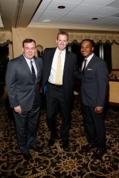 Former FWAA President Tony Barnhart (1998), John Sudsbury of the Sugar Bowl and Eddie Robinson III at the FWAA's Past Presidents Dinner on Jan. 6, 2017, in Tampa. Photo by Melissa Macatee.