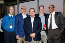 Left to right: Malcolm Moran of the National Sports Journalism Center at IUPUI, Bob Burda of the Big XII, Larry Wahl of the Orange Bowl, Dave Hirsch of the Pac 12 and journalist Bill Rhoden at the Eddie Robinson Coach of the Year Reception on Jan. 7, 2017, in Tampa. Photo by Melissa Macatee.