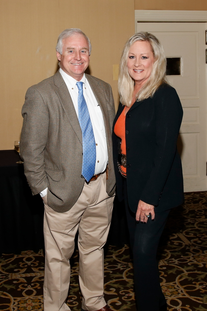 Kirk Bohls, FWAA president in 2014, and FWAA director of special events Margaret Mason at the FWAA's Past Presidents Dinner on Jan. 6, 2017, in Tampa. Photo by Melissa Macatee.