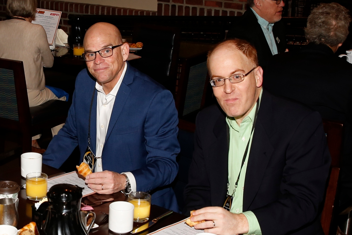 Former FWAA president Dennis Dodd and incoming second vice president Jon Solomon at the FWAA's Awards Breakfast on Jan. 9, 2017, in Tampa. Both are from CBSSports.com. Photo by Melissa Macatee.