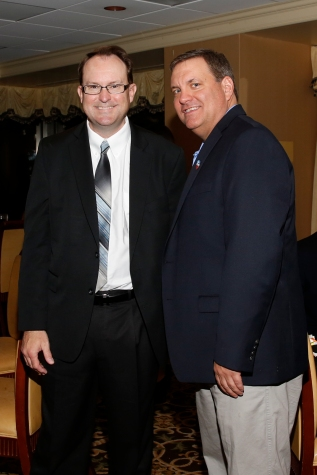 Mark Anderson, FWAA president in 2016, and Mike Griffith, president in 2007, at the FWAA's Past Presidents Dinner on Jan. 6, 2017, in Tampa. Photo by Melissa Macatee.